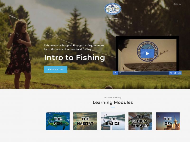 IGFA Online Angling Modules for young and/or novice anglers
